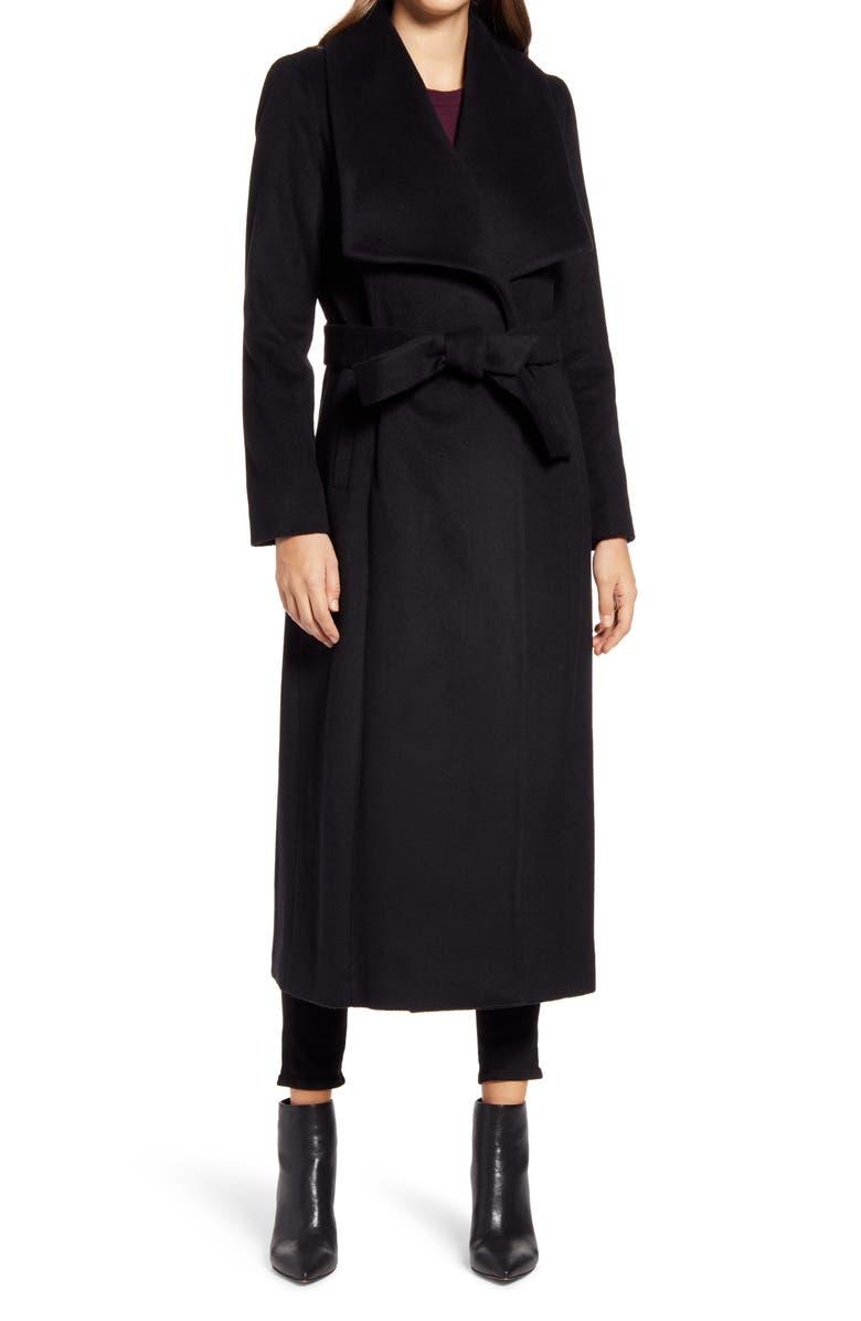 COLE HAAN SIGNATURE Slick Wool Blend Wrap Coat, Main, color, 001