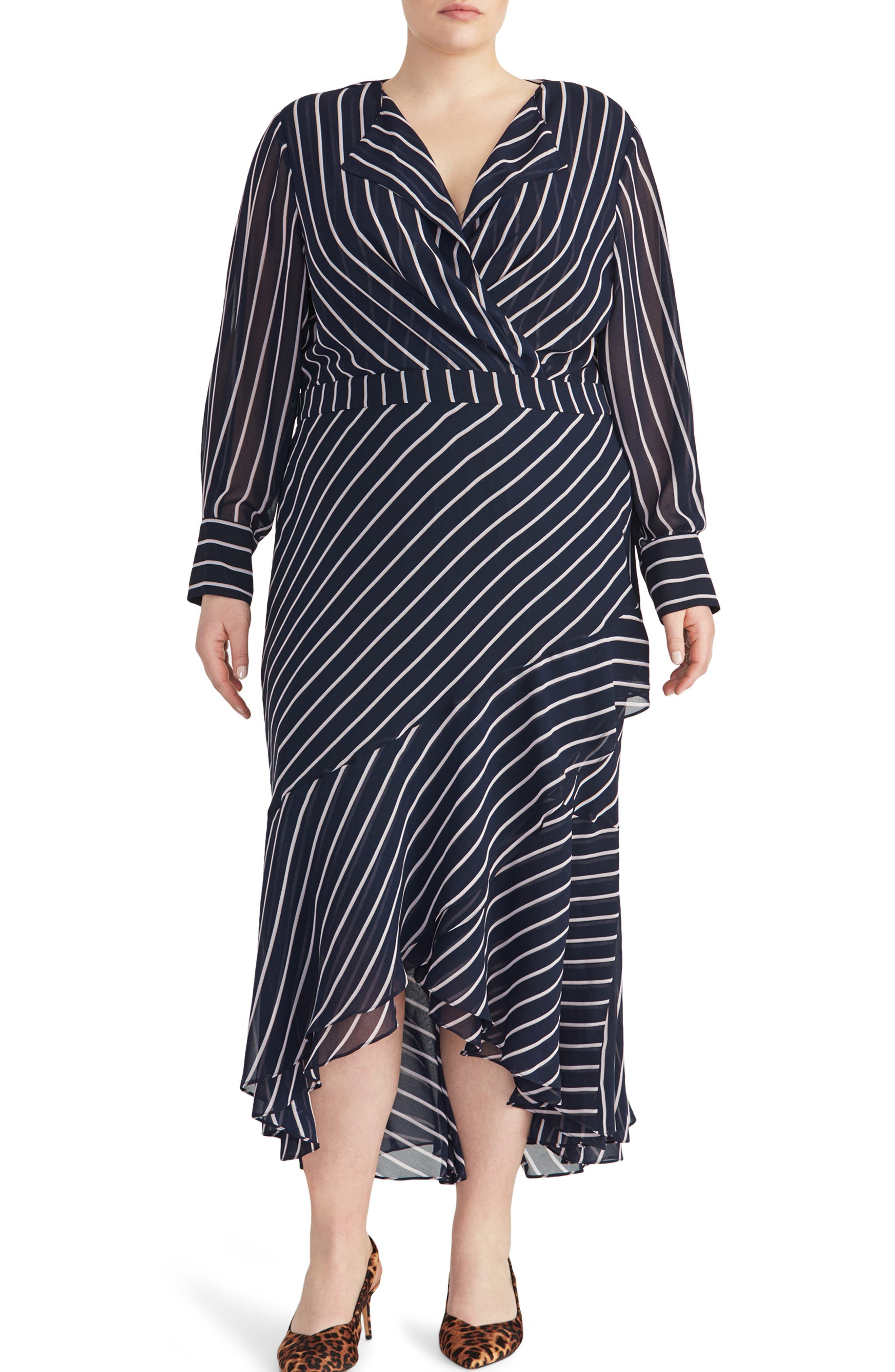 1930s Art Deco Plus Size Dresses   Tea Dresses, Party Dresses Plus Size Womens Rachel Roy Collection Stripe Print Maxi Dress $89.40 AT vintagedancer.com