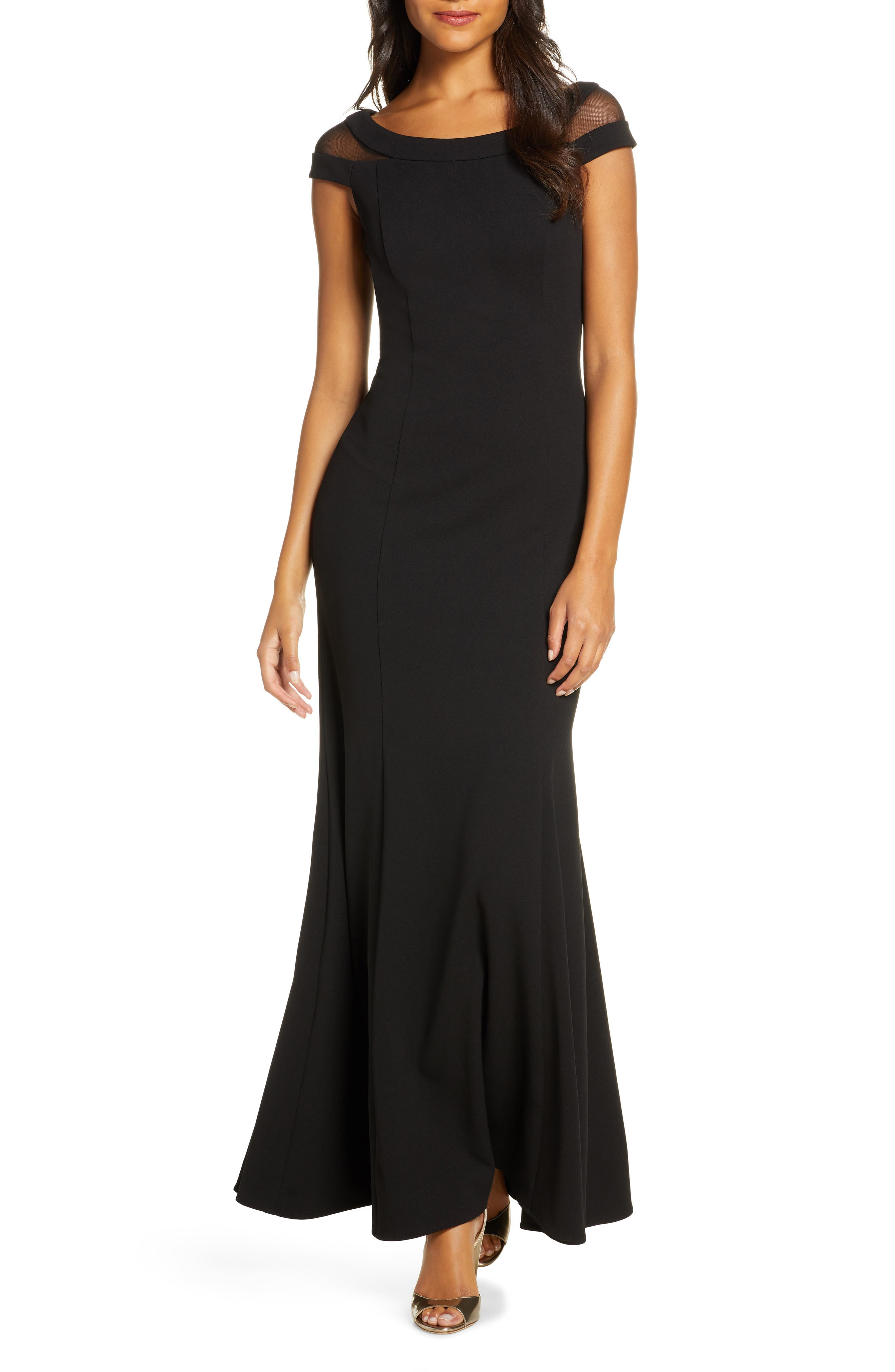 Vince Camuto Boat Neck Evening Gown