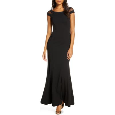Petite Vince Camuto Boat Neck Evening Gown, Black