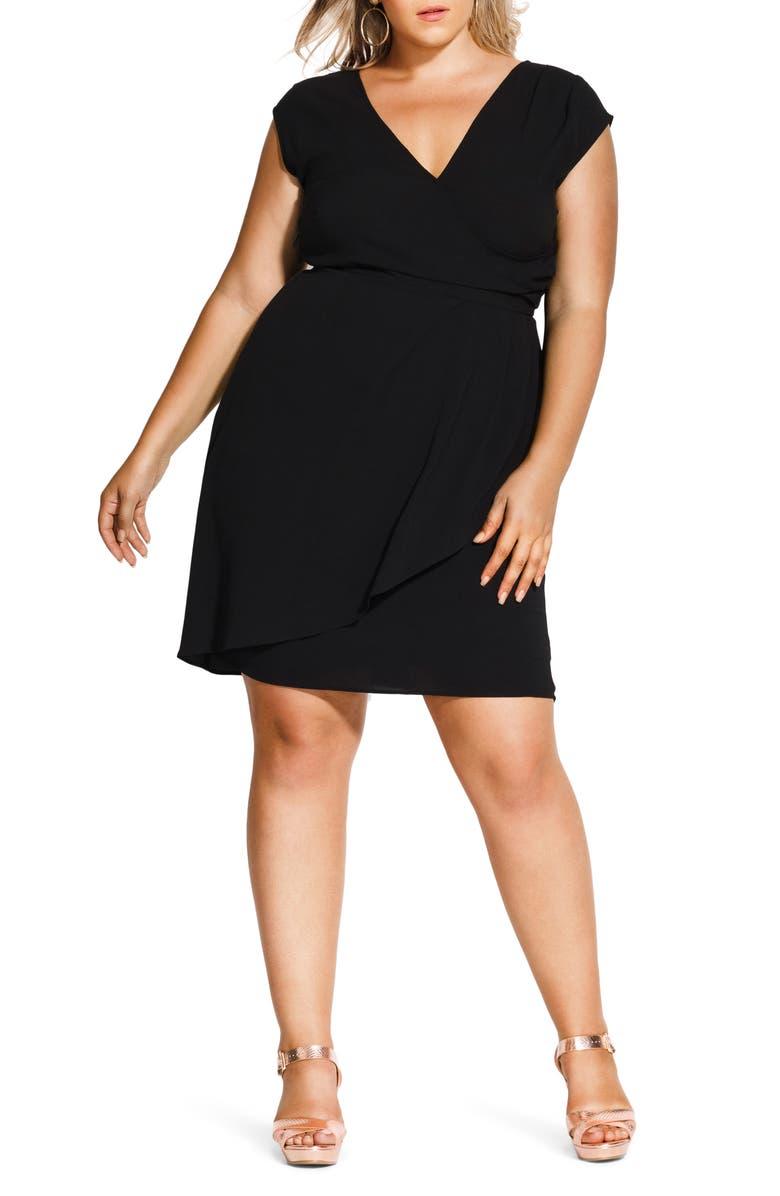 CITY CHIC Classic Wrap Style Dress, Main, color, BLACK