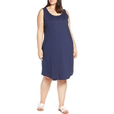 Plus Size Caslon Shirttail Hem Tank Dress, Blue