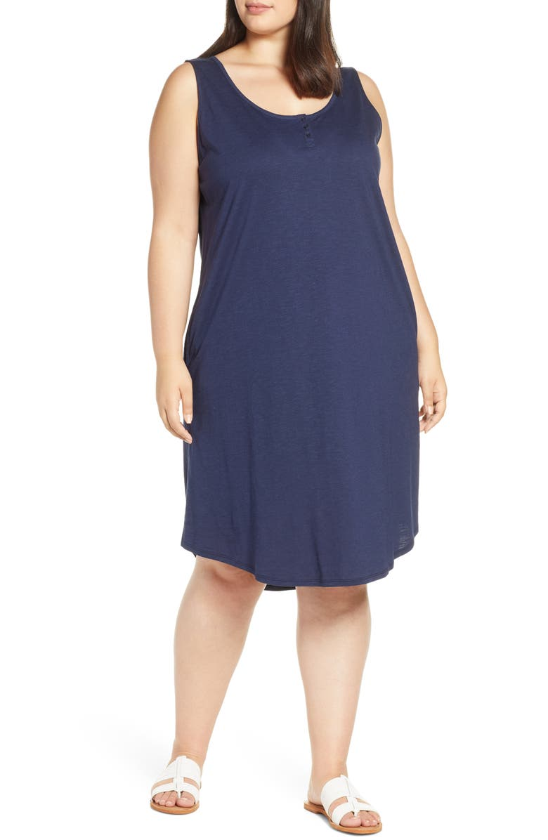 CASLON<SUP>®</SUP> Shirttail Hem Tank Dress, Main, color, NAVY PEACOAT