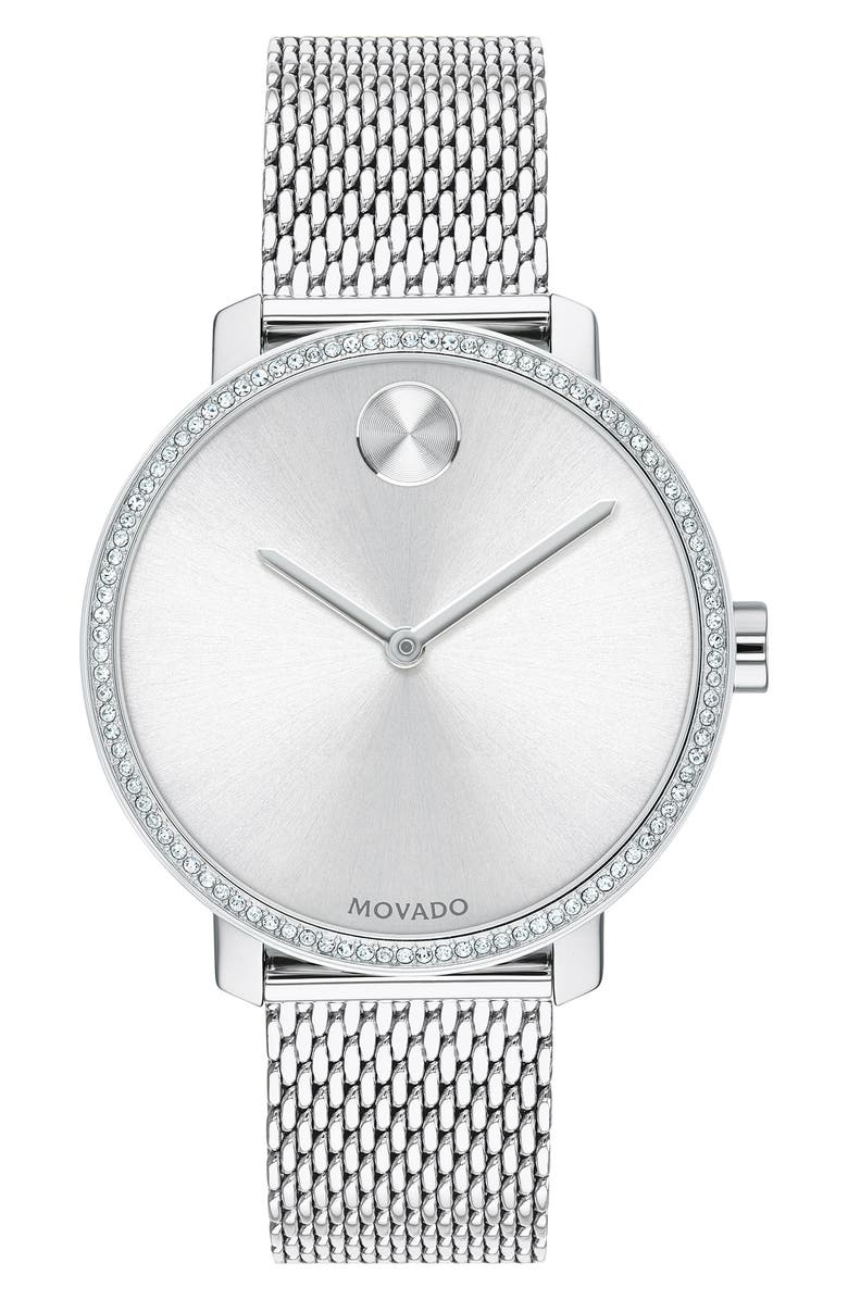 MOVADO Bold Mesh Strap Watch, 34mm, Main, color, SILVER