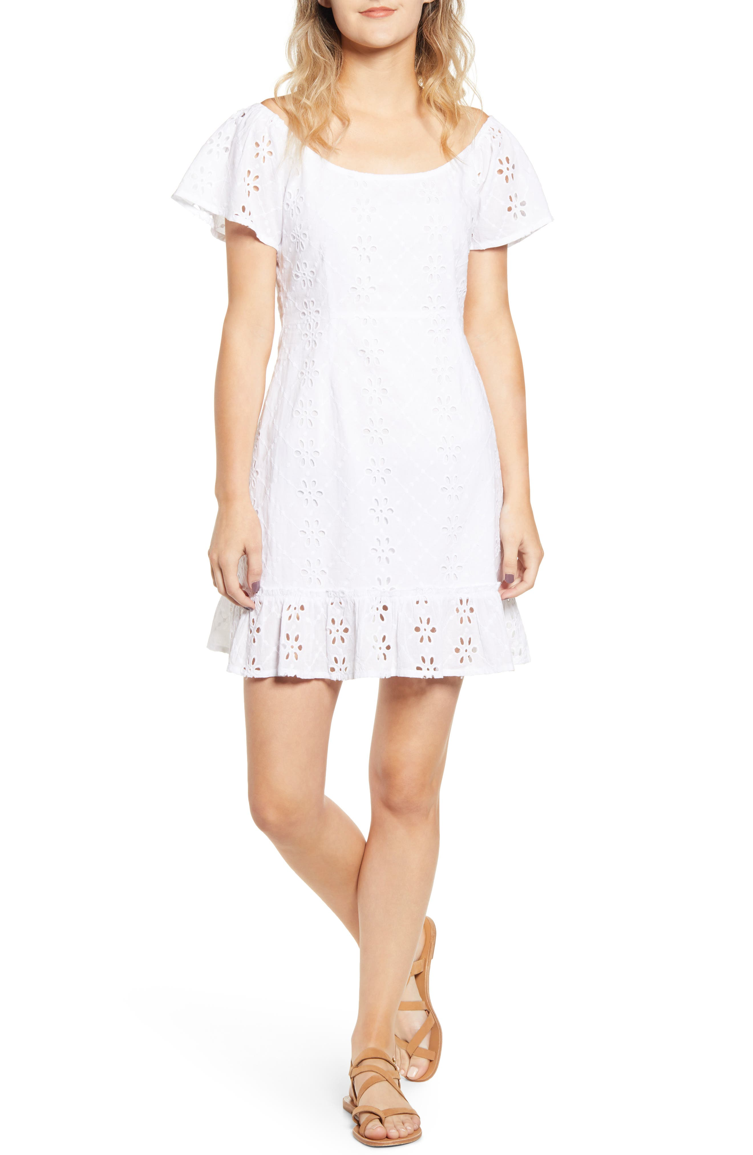 Minkpink All Your Own Broderie Anglaise Minidress, White