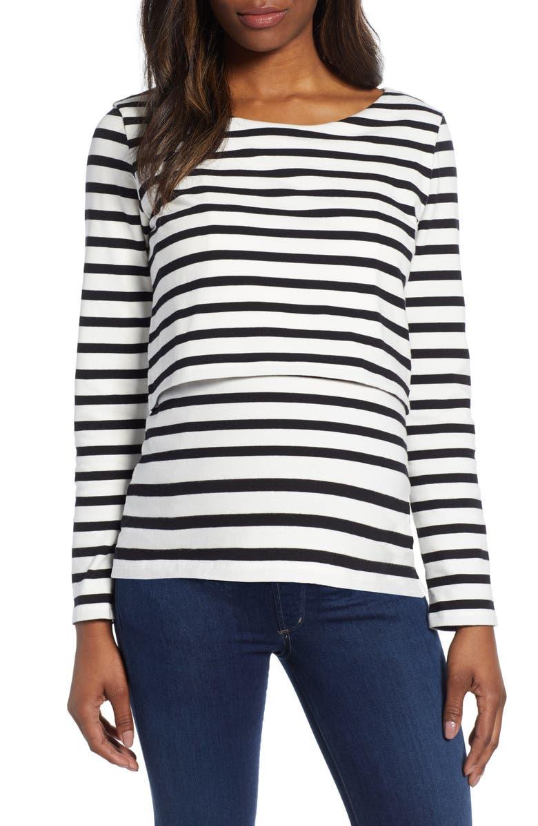 ISABELLA OLIVER Stripe Maternity/Nursing Top, Main, color, 001