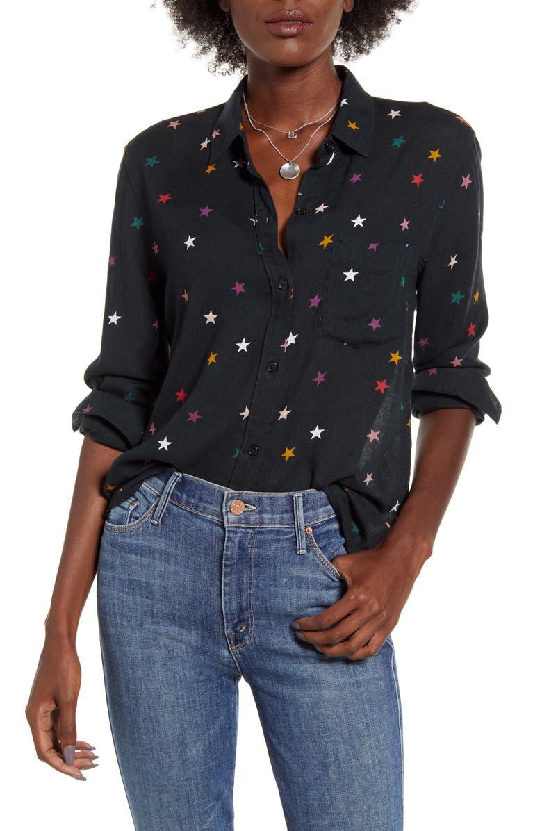 RAILS Rosci Star Print Button Front Shirt, Main, color, ONYX RAINBOW STARS