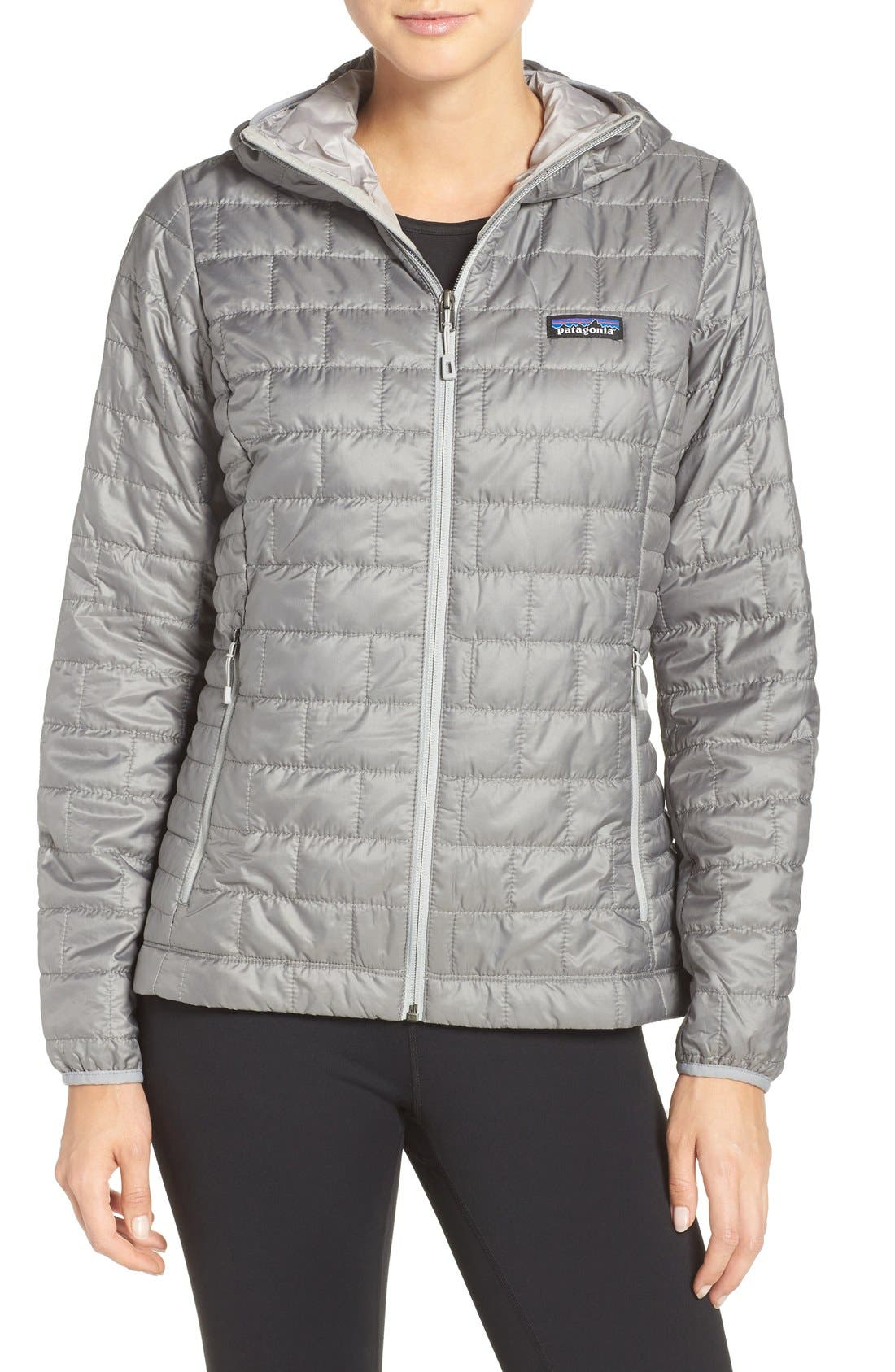 Patagonia Nano Puff Hooded Water Resistant Jacket, Grey