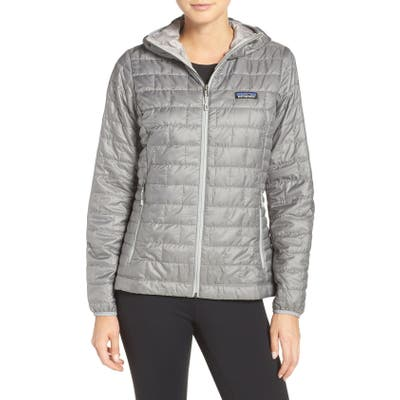 Patagonia Nano Puff Hooded Water Resistant Jacket, Grey