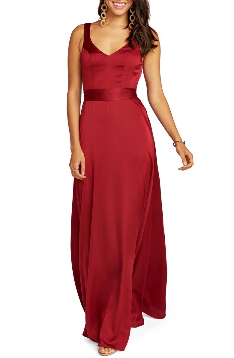 SHOW ME YOUR MUMU Jen Evening Dress, Main, color, RUBY LUXE SATIN