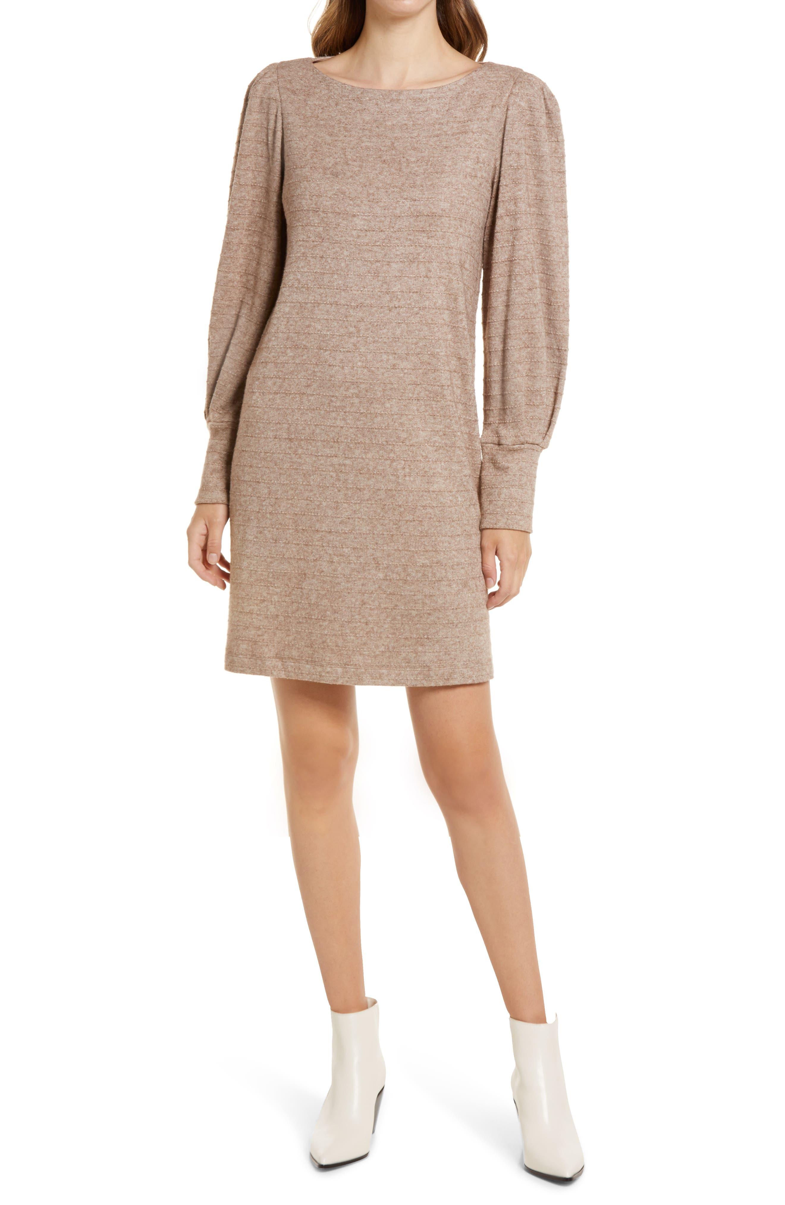 Boatneck Long Sleeve Sweater Dress