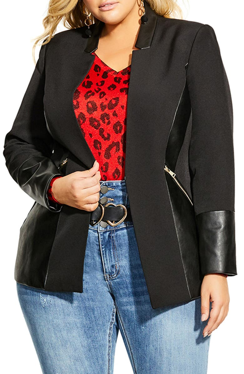 CITY CHIC Faux Leather Trim Jacket, Main, color, BLACK