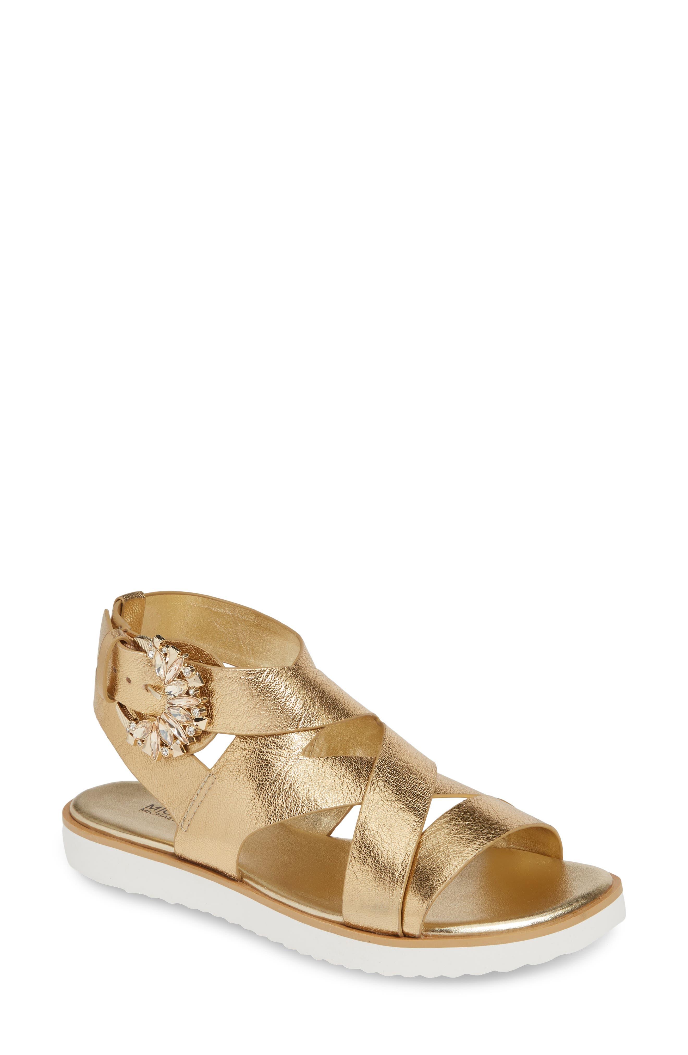 Michael Michael Kors Frieda Strappy Flat Sandal, Metallic