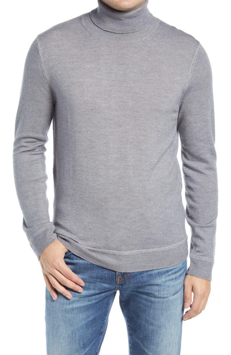 NORDSTROM SIGNATURE Merino Wool Garment Dye Turtleneck Sweater, Main, color, GREY EXCALIBUR
