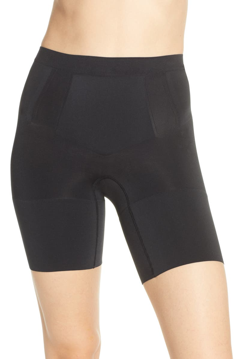 SPANX<SUP>®</SUP> OnCore Mid Thigh Shorts, Main, color, VERY BLACK