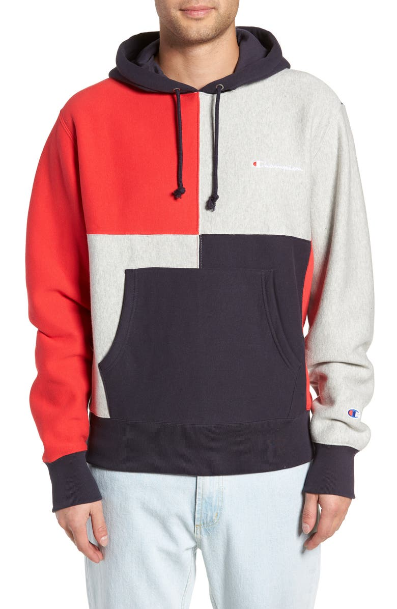 new style ce124 e7955 Colorblock Hoodie, Main, color, NAVY  OXFORD GREY  SCARLET