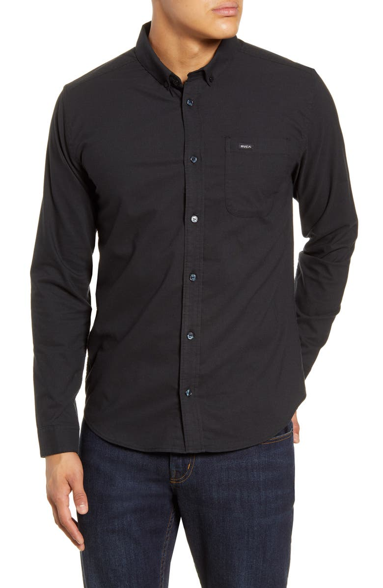 RVCA That'll Do Button-Down Shirt, Main, color, BLACK