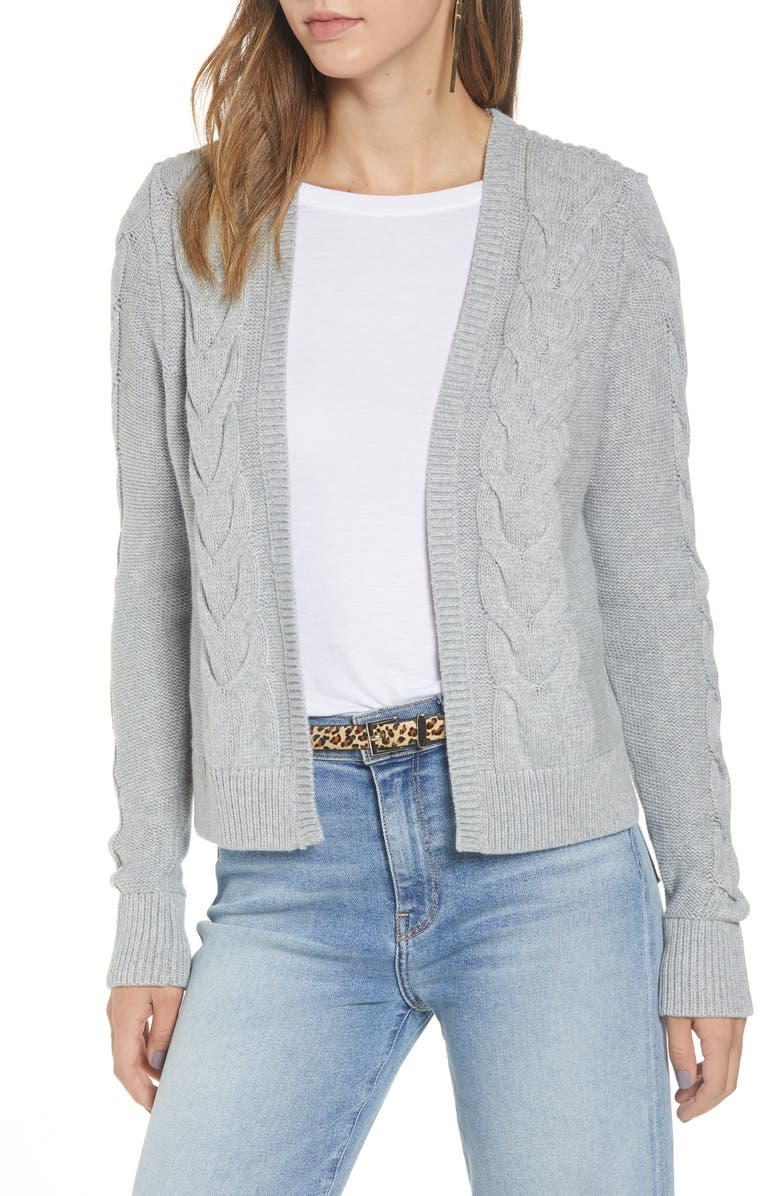 HALOGEN<SUP>®</SUP> Open Front Cable Cardigan, Main, color, GREY HEATHER