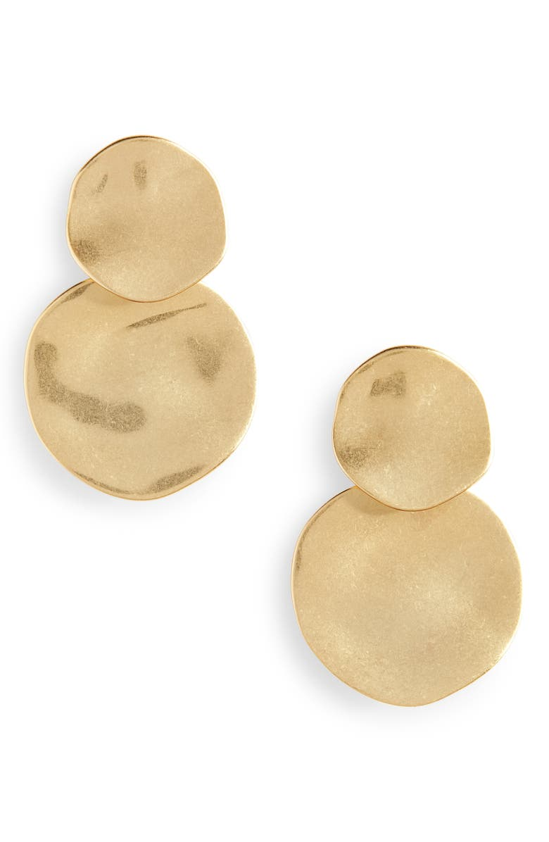 MADEWELL Hammered Disc Statement Earrings, Main, color, VINTAGE GOLD