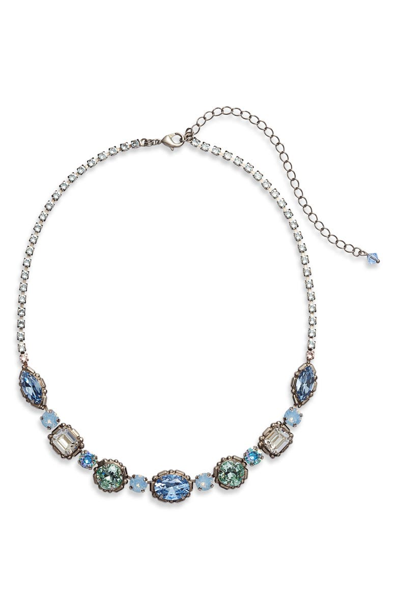 SORRELLI Cardoon Crystal Station Necklace, Main, color, BLUE