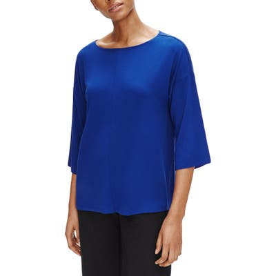 Eileen Fisher Bateau Neck Top, Blue