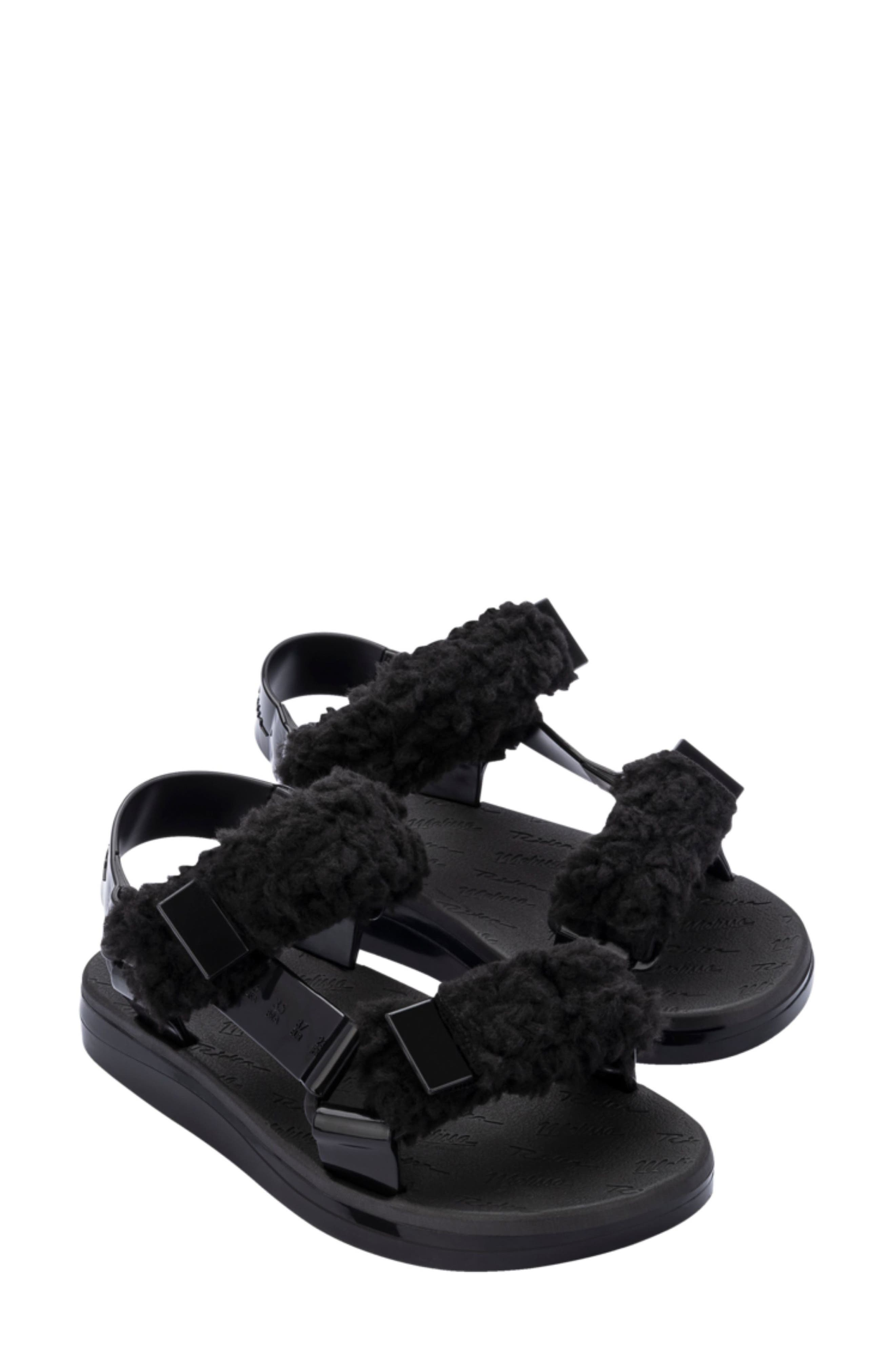 Papette Fluffy Rider Faux Shearling Sandal