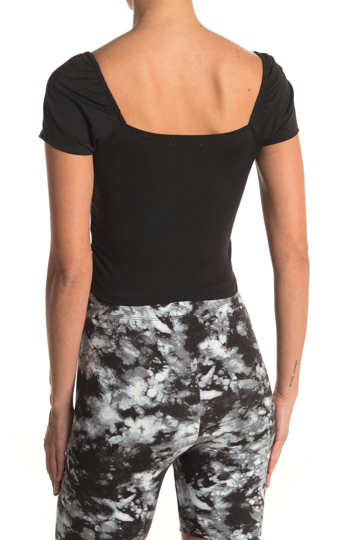 Image of GOOD LUCK GEM Ruched Short Sleeve Crop Top