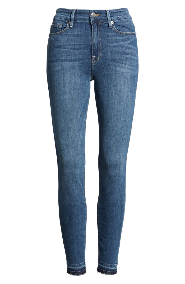 GOOD AMERICAN Good Legs High Rise Crop Released Hem Skinny Jeans, Main, color, 401
