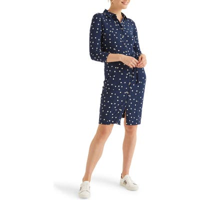 Petite Boden Tara Jersey Shirtdress, Blue