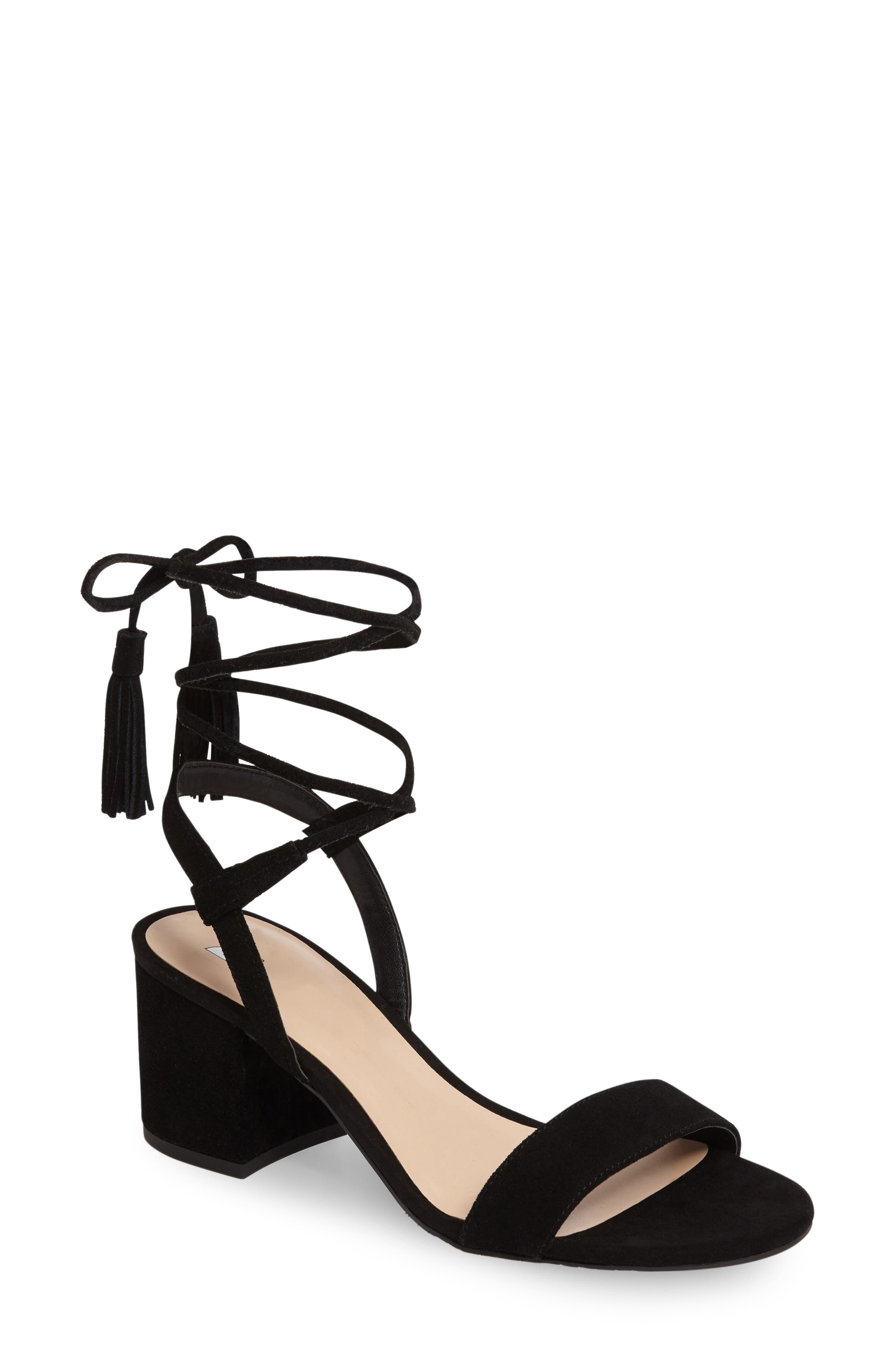 ,                             Karla Block Heel Ankle Wrap Sandal,                             Main thumbnail 1, color,                             001