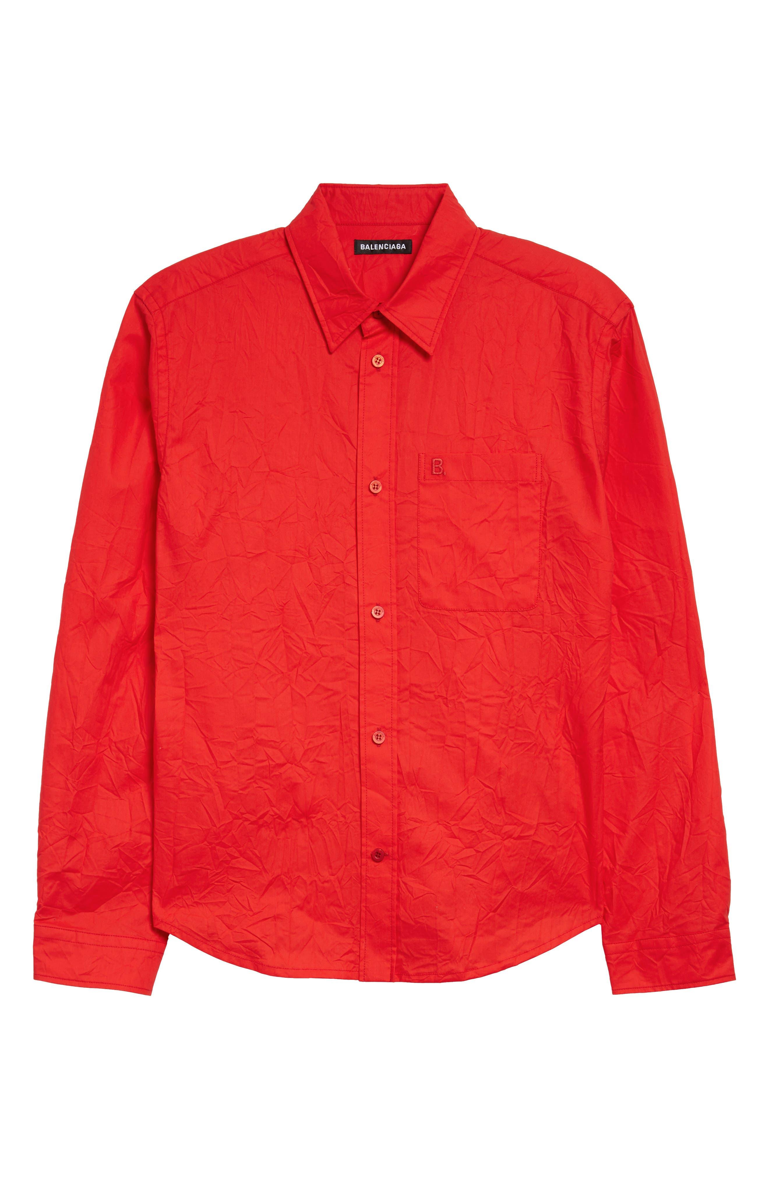 Image of Balenciaga Crinkled Poplin Button-Up Shirt