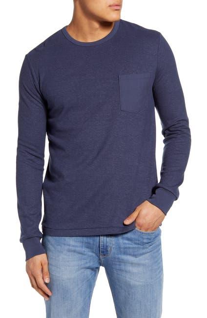 Image of FRAME Slim Fit Cotton Blend Long Sleeve Crewneck T-Shirt