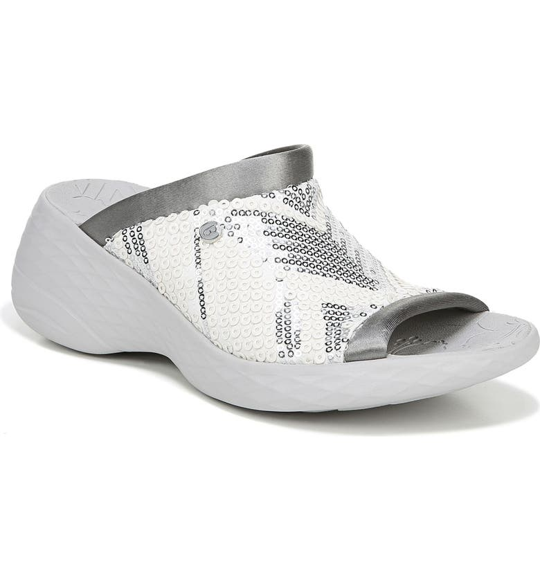 BZEES Jubilee Sandal, Main, color, WHITE/ SILVER FABRIC
