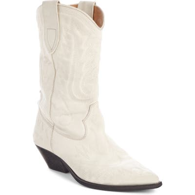 Isabel Marant Duerto Western Embroidered Boot, White