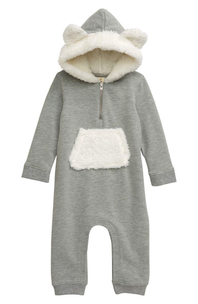 TUCKER + TATE Bear Hood Fleece Detail Romper, Main, color, GREY MEDIUM HEATHER