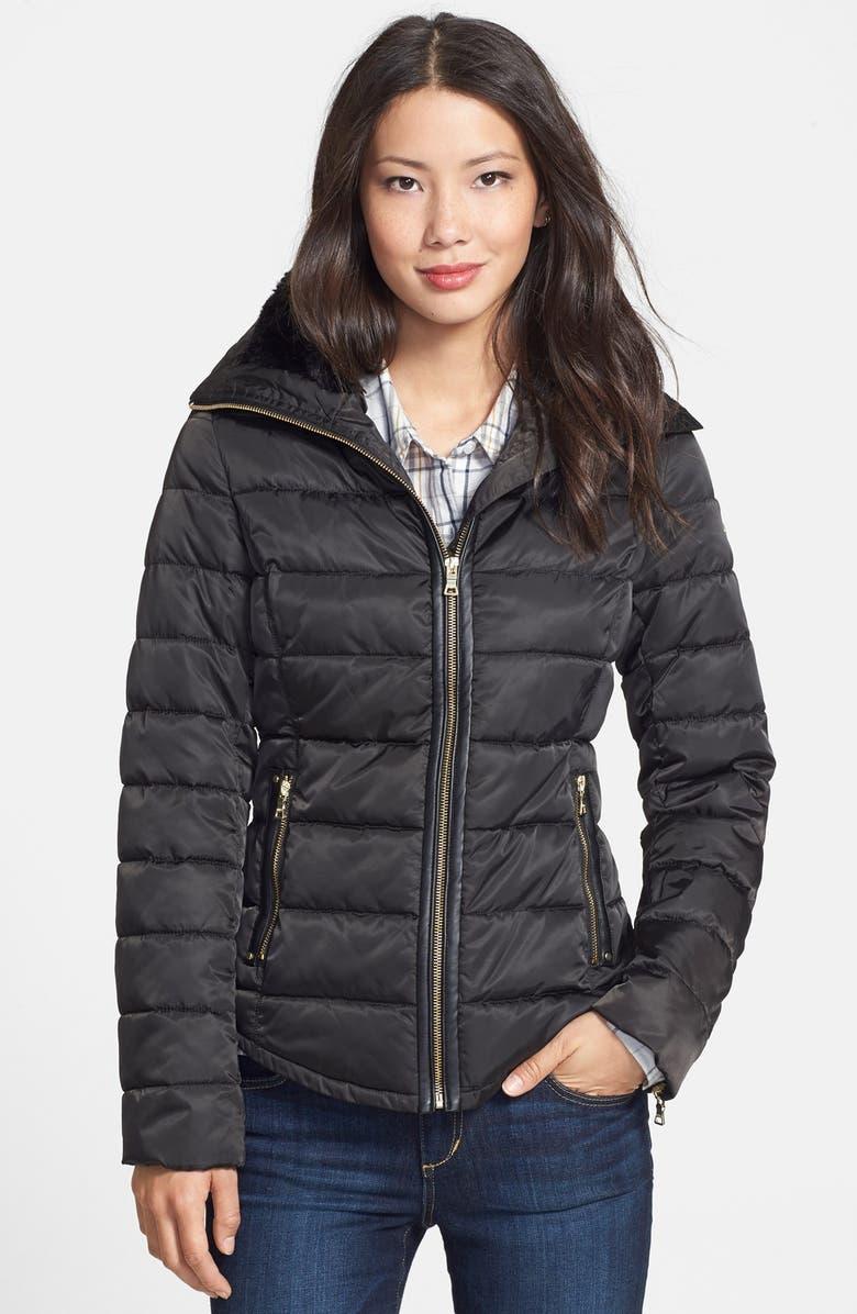 GUESS Faux Fur & Faux Leather Trim Quilted Jacket, Main, color, 001