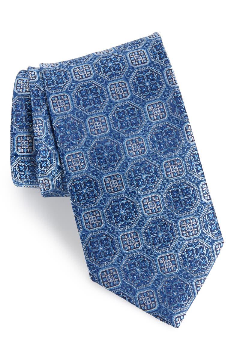 DAVID DONAHUE Medallion Silk X-Long Tie, Main, color, 423