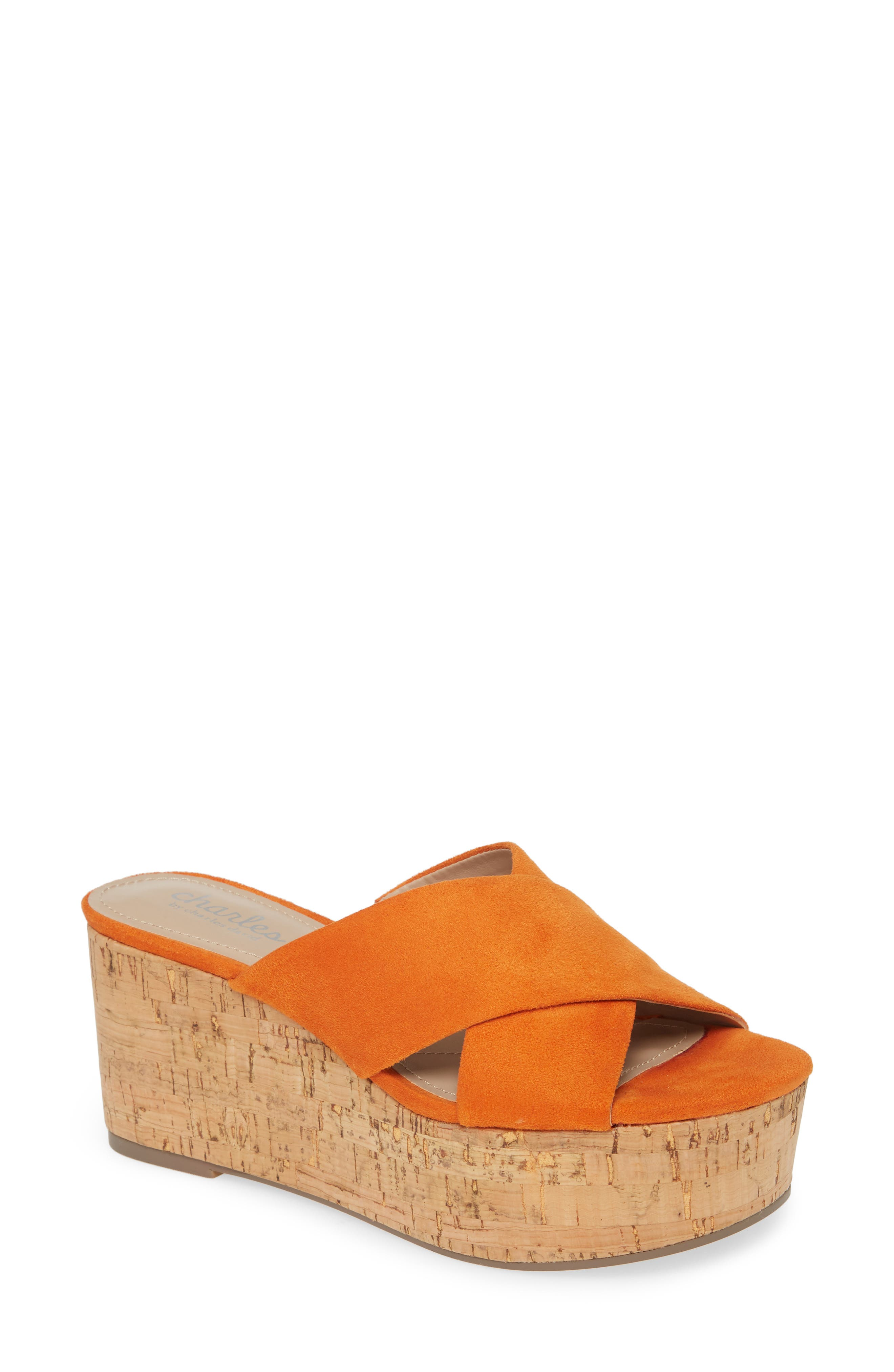 Layers of cork fashion the heel and platform of a cross-strap sandal made with a foam-cushioned footbed. Style Name: Charles By Charles David Civil Platform Wedge Slide Sandal (Women). Style Number: 5994984. Available in stores.