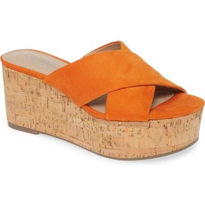 Charles By Charles David Civil Platform Wedge Slide Sandal, Orange