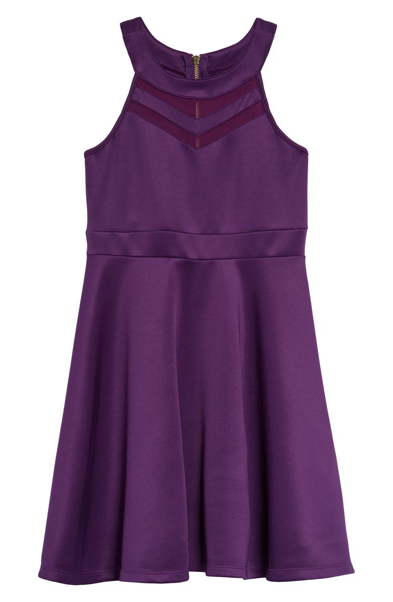 LOVE, NICKIE LEW Illusion Scuba Dress, Main, color, PLUM