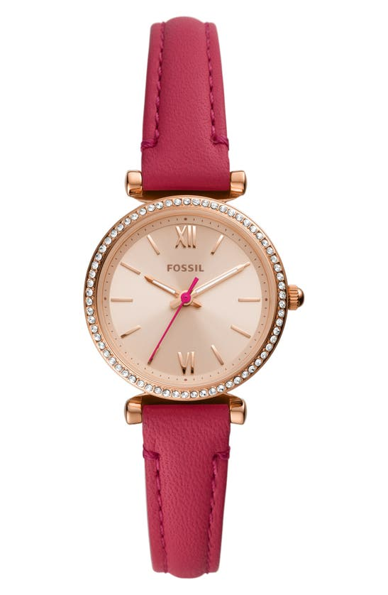 FOSSIL CARLIE MINI CRYSTAL LEATHER STRAP WATCH, 28MM