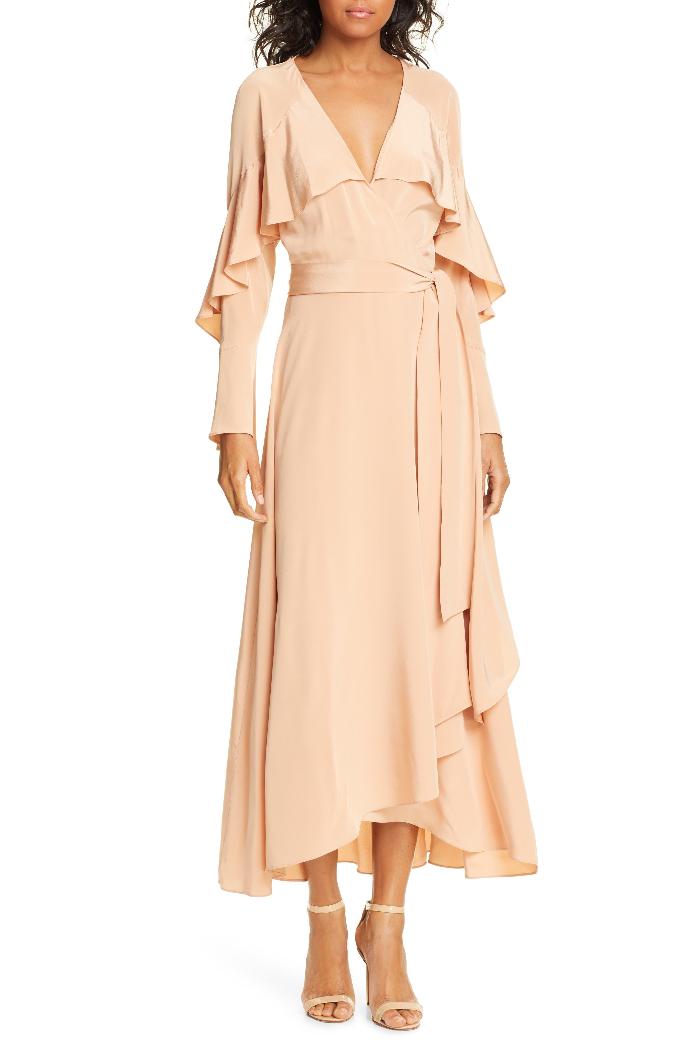 Dvf Isla Silk Midi Wrap Dress, Coral
