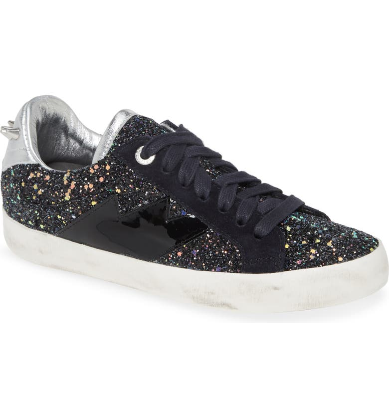ZADIG & VOLTAIRE Used Glitter Lace-Up Sneaker, Main, color, NOIR