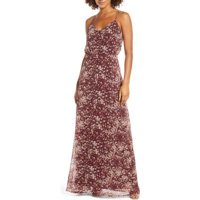 Wayf The Savannah Floral Print Blouson Gown, Red