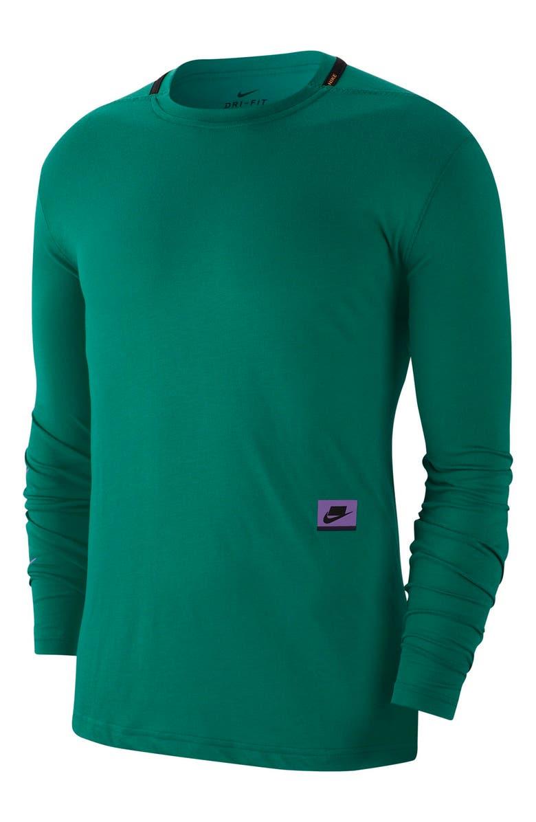 NIKE Dri-FIT PX Long Sleeve Performance T-Shirt, Main, color, MYSTIC GREEN/ KUMQUAT/ VIOLET