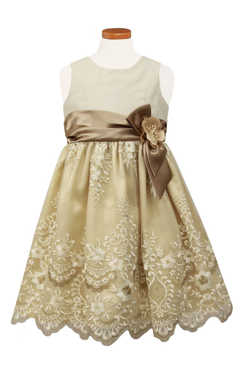 SORBET Embroidered Fit & Flare Dress, Main, color, CHAMPAGNE