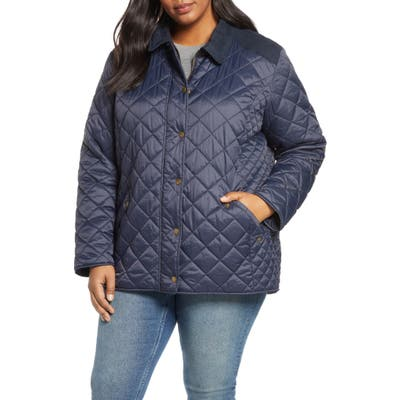 Plus Size Barbour Exmoor Diamond Quilted Jacket, Blue