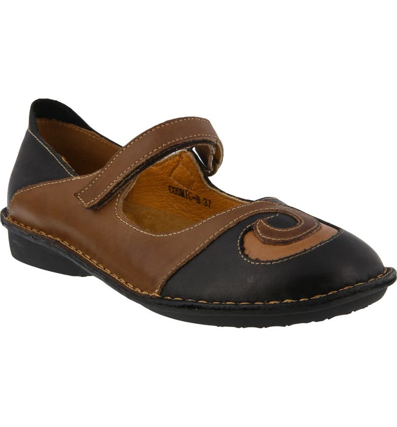 SPRING STEP Cosmic Mary Jane Flat, Main, color, BLACK LEATHER