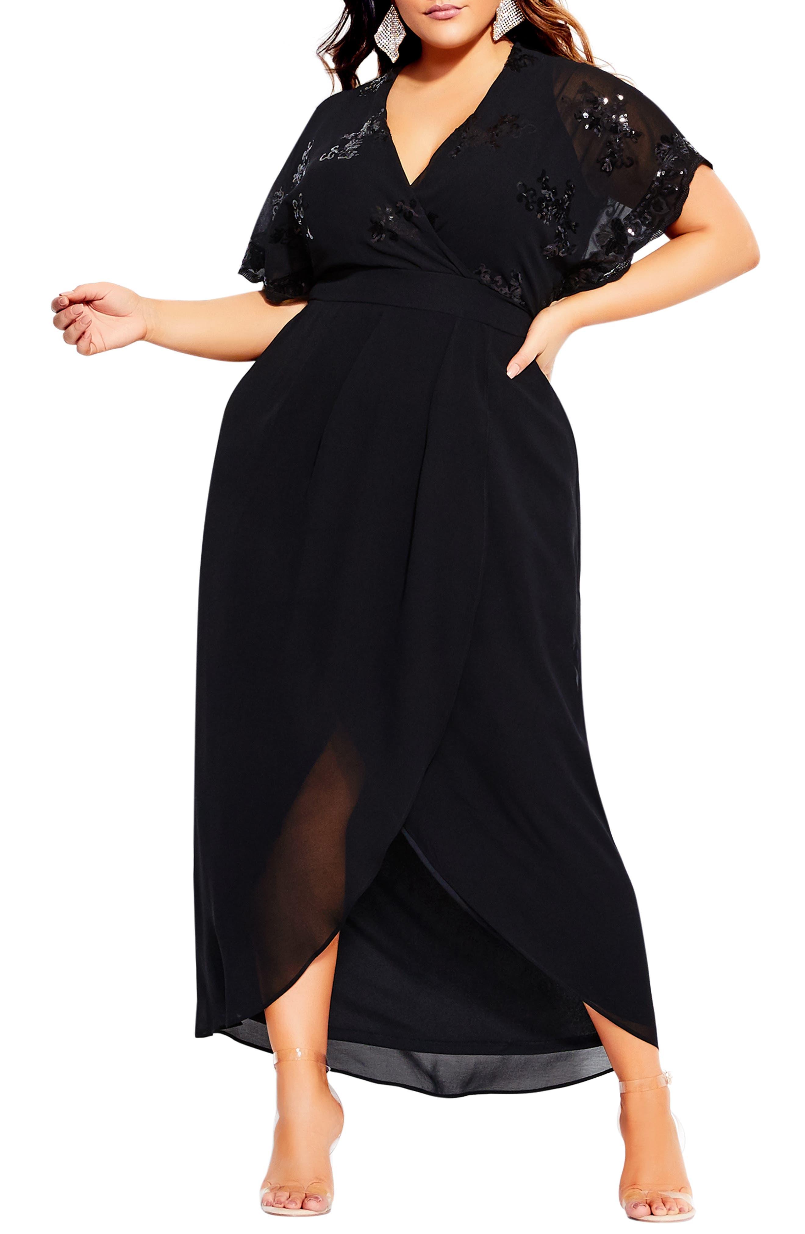 70s Outfits – 70s Style Ideas for Women Plus Size Womens City Chic Sequin Bodice Faux Wrap Maxi Dress $139.00 AT vintagedancer.com