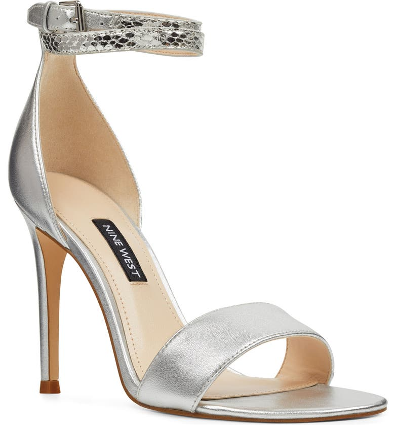 NINE WEST Nika Ankle Strap Sandal, Main, color, SILVER LEATHER